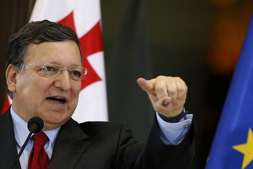 European Commission President Jose Manuel Barroso speaks during a news conference in Tbilisi, Georgia, on June 12, 2014.European Commission president Jose Manuel Barroso pressed Russia and Ukraine on Monday to resolve a dispute that has effecti