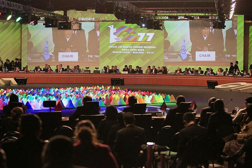 A general view of the plenary session of the G77+ China Summit in Santa Cruz de la Sierra on June 15, 2014. -- PHOTO: REUTERS