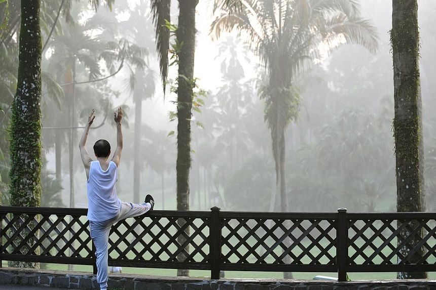 A man performing a series of stretching exercises while beyond him, morning mist shrouds an area of the Singapore Botanic Gardens on 2 June 2011. -- PHOTO: ST FILE