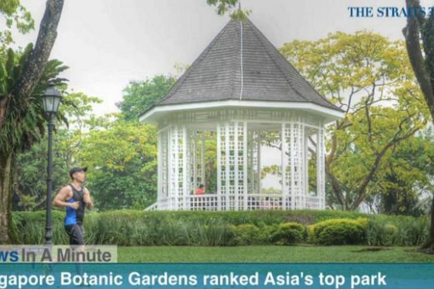 In today's The Straits Times News In A Minute video, we look at how the Singapore Botanic Gardens has been named the No. 1 park in Asia for the second time by TripAdvisor. -- PHOTO: SCREENGRAB FROM VIDEO