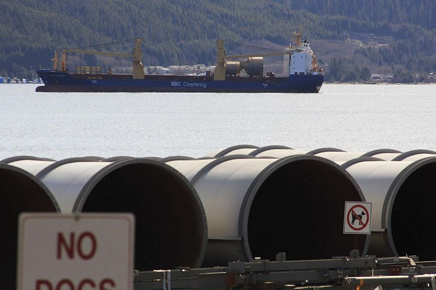 Construction materials for the Rio Tinto Alcan modernization project are shown at Hospital Beach outside the town of Kitimat, in northern British Columbia on April 12, 2014.Canada approved construction on Tuesday of a pipeline to the Pacific Oc