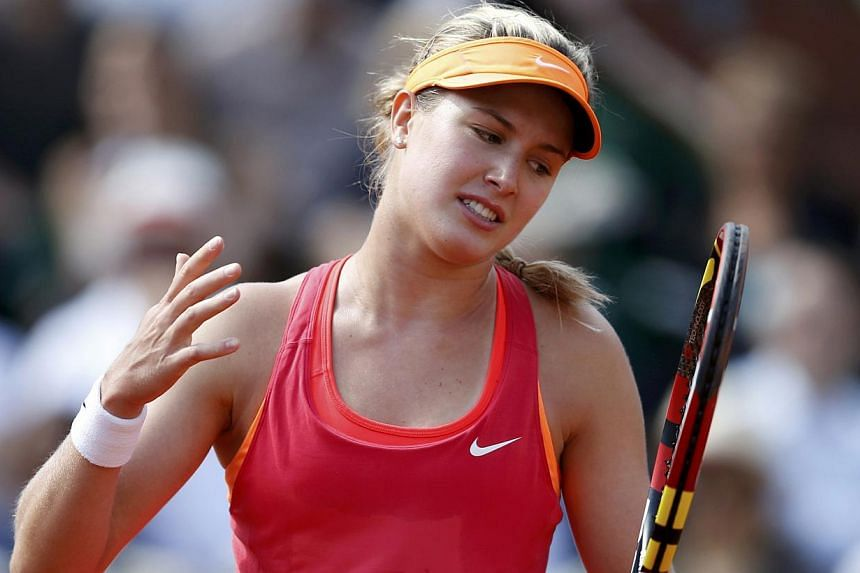 Eugenie Bouchard of Canada reacts during her French Open women's semi-final match against Maria Sharapova at the Roland Carros stadium in Paris on June 5, 2014. -- PHOTO: REUTERS