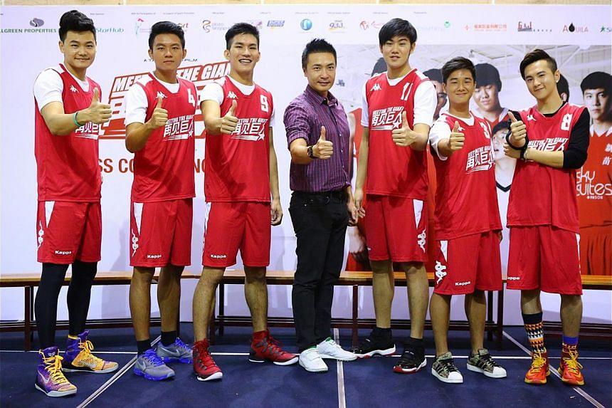 Actor-director Tay Ping Hui (above, centre) with cast members (from far left) Michael Lee, Lim Sheng Yu, Ng Han Bin, Delvin Goh, Chua Seng Jin and Ian Fang. -- PHOTO: GOLDEN VILLAGE
