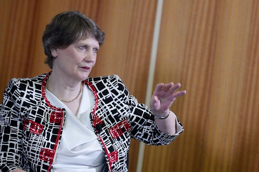 United Nations Development Programme (UNDP) Administrator and ex-PM of New Zealand Helen Clark pictured during a panel discussion at UNDP's Global Centre for Public Service Excellence (GCPSE) on June 3, 2014. -- ST PHOTO: MARK CHEONG