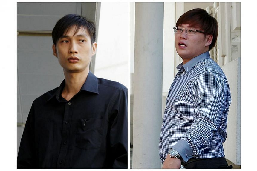 Daniel Chen Wenqiang (left) and Foo Yong Chun have been charged with attempting to sell two hundred and thirty-three digital set-up boxes which they claimed they did not know were illegal. -- ST PHOTO: WONG KWAI CHOW/PHOTO: COURTESY OF STARHUB