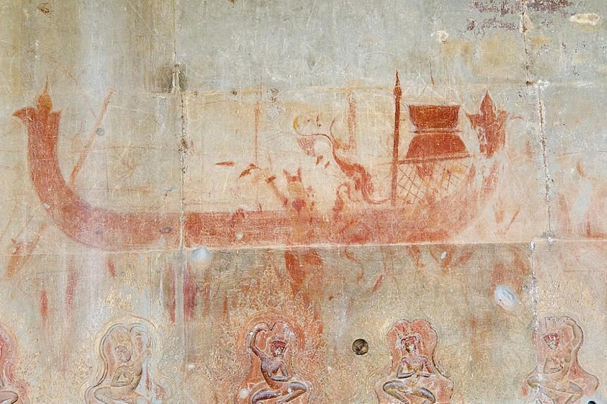 A painting of a boat on the outer wall of Angkor Wat. -- PHOTO:NOEL HIDALGO TAN AND ANTIQUITY PUBLICATIONS