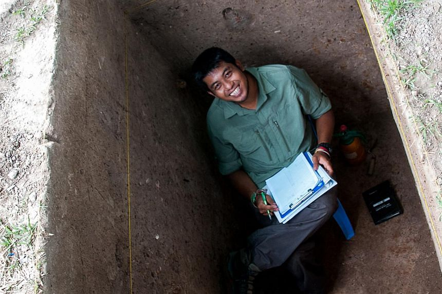Noel Hidalgo Tan in Angkor Wat back in June 2012 helping out at an excavation effort. -- PHOTO: NOEL HIDALGO TAN