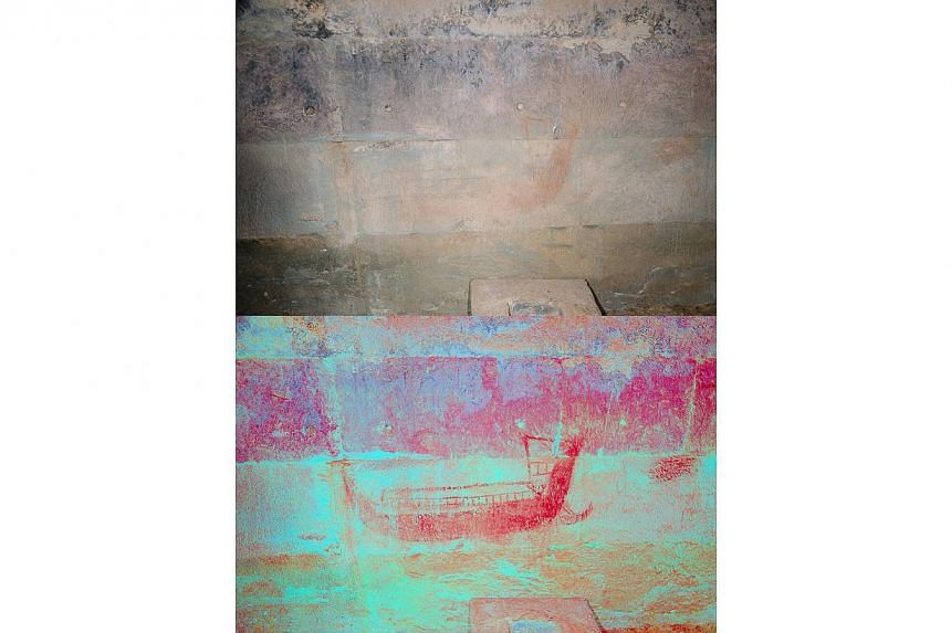 Another digitally enhanced painting of a boat found on the north wall of the second enclosure. -- PHOTO: NOEL HIDALGO TAN AND ANTIQUITY PUBLICATIONS