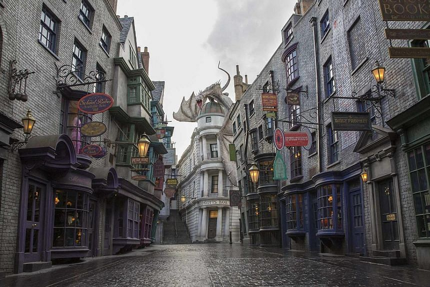 Universal Orlando's new Diagon Alley attraction, part of the Wizarding World of Harry Potter, is seen in this undated handout picture in Orlando, Florida. The much-anticipated expansion of Universal Orlando's Wizarding World of Harry Potter will open