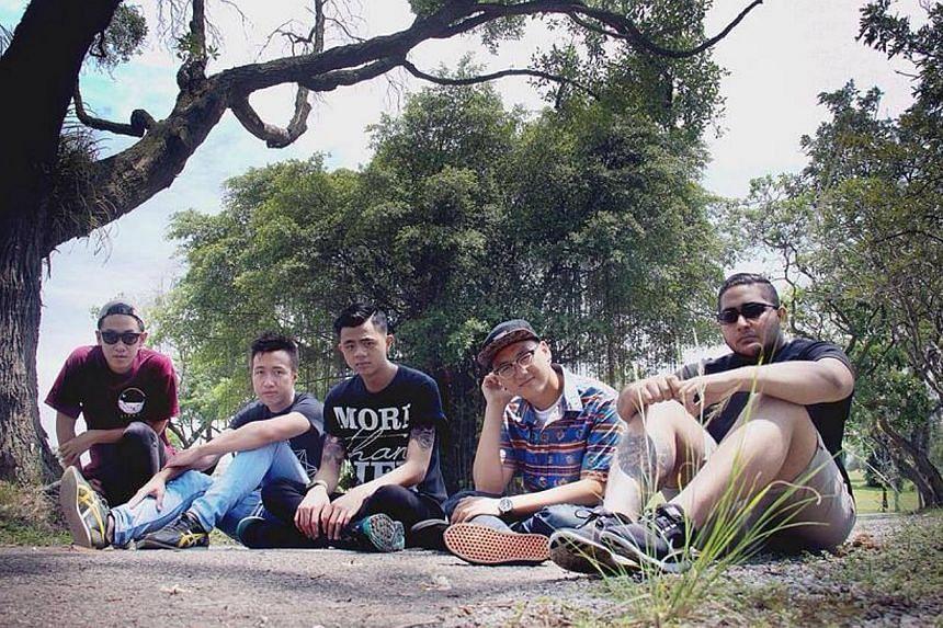 False Plaintiff comprise (above from left) Nicholas Phang, 21, guitarist; Sydney Long, 22, drummer; Bryner Tan, 20, guitarist; Brandon Tanoto, 21, vocalist; and Jonathan Nicholas Vincent, 21, bassist.