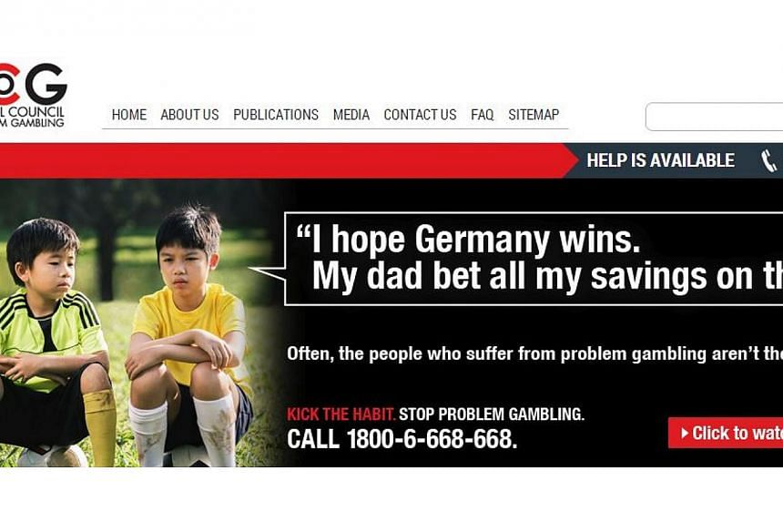An advertisment by the National Council of Problem Gambling (NCPG). The NCPG is running television, radio and newspaper ads, in addition to ads at cinemas, bus stops and coffee shops, during the World Cup to draw attention to the potential social fal