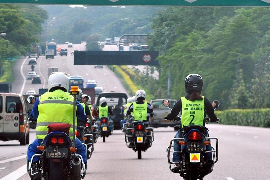 Newly qualified riders on the expressway, accompanied by their instructors, under the optional Expressway Familiarisation Ride course. In the first four months of this year, 32 motorcyclists died in traffic accidents, eight more than in the same