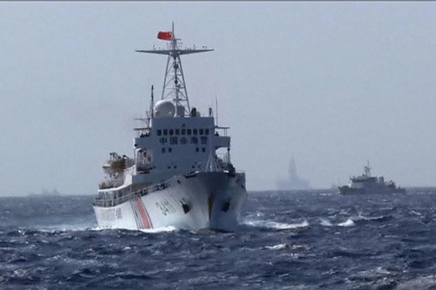 A still image taken from video shows a Chinese Coast Guard vessel sailing in the South China Sea, about 210 km off shore of Vietnam on May 14, 2014. -- PHOTO: REUTERS