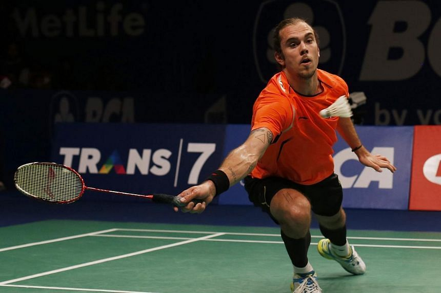 Denmark's Jan O Jorgensen returns a shoot to Japan's Kenichi Tago (not pictured) during their men's single final match at the BCA Indonesia Superseries Open badminton championship in Jakarta on June 22, 2014. Jorgensen won his first Indonesia Open ba