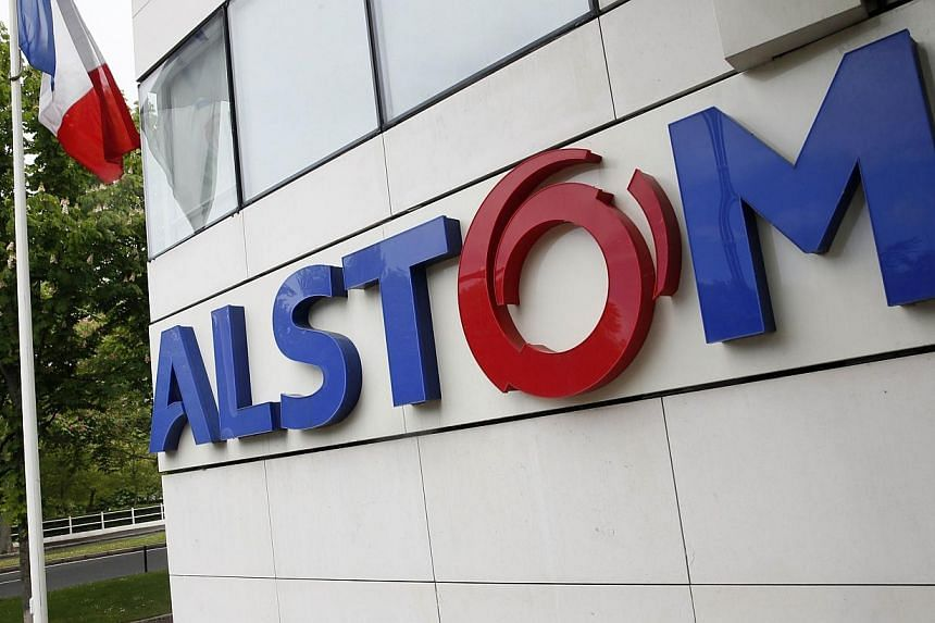 A picture taken on April 27, 2014 in Levallois-Perret shows the facade of the French engineering group Alstom's headquarters.The board of directors of French power-to-rail group Alstom on Saturday unanimously approved US conglomerate General El