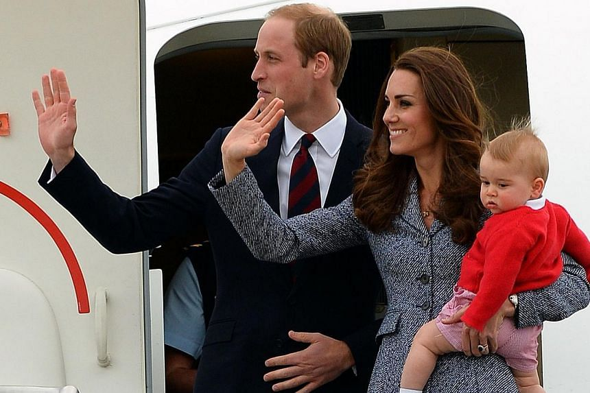 Britain's Prince William (left), his wife Catherine and their son Prince George depart Australia from Defence Establishment Fairbairn in Canberra on April 25, 2014. The British monarchy has defended the cost of refurbishing a Kensington Palace a