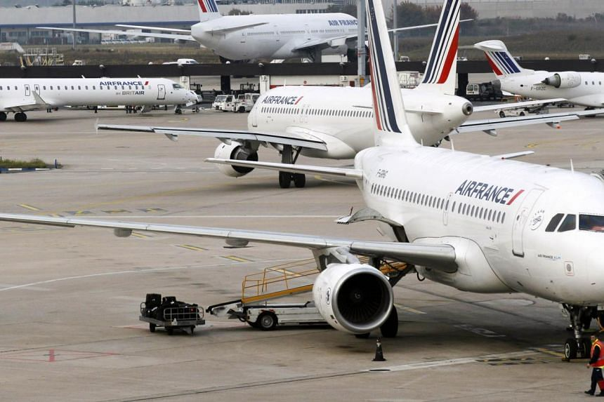 Planes at a French airport. The country's civil aviation body urged airlines on Monday to cut flights by up to 20 per cent in Paris and some other cities due to an air controllers' strike, which is due to start on Tuesday for six days. PHOTO: AFP