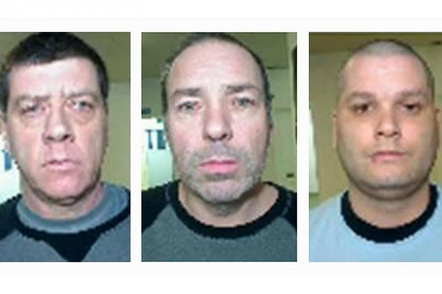 A combination photo shows the escapees (from left) Denis Lefebvre, 53, Serge Pomerleau, 49, and Yves Denis, 35, who escaped from Orsainville Detention Centre using a helicopter in suburban Quebec City, Quebec June 7, 2014, in this undated handout pic