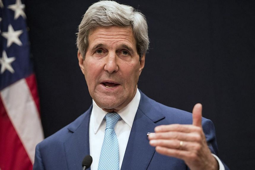 US Secretary of State John Kerry speaks during a joint news conference in Cairo on June 22, 2014. -- PHOTO: REUTERS