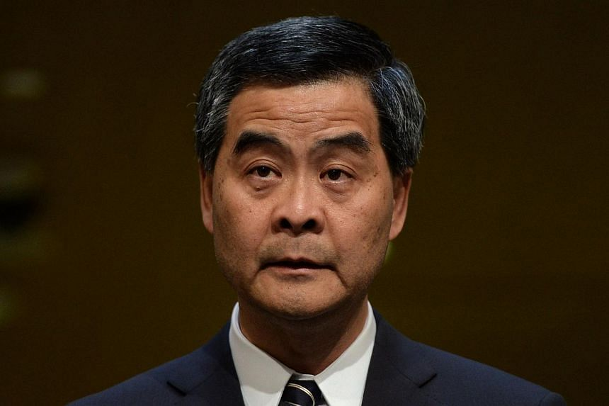 Hong Kong Chief Executive Leung Chun-ying speaks during a press conference in Hong Kong on April 23, 2014. Mr Leung on Tuesday hit back at Chinese media criticism of an unofficial democracy poll in the city, softening his previous stance on the ballo