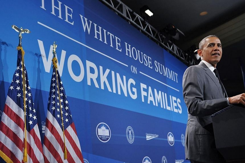 "US President Barack Obama speaks during the White House Summit on Working Families on June 23, 2014 at a hotel in Washington, DC. President Barack Obama on Monday lamented that America was on its ""lonesome"" as the only developed nation not t"