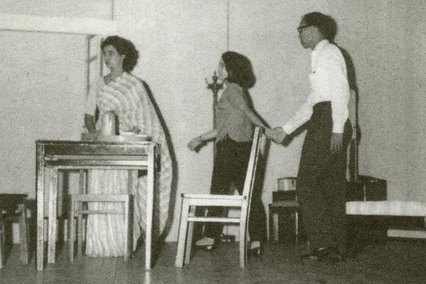 From left to right, Leaenna Chelliah as Sheila Rani, Annie Wee (nee Chin) as Mimi Fan, and Lim Teong Qwee as Chan Fei-Loong in the play Mimi Fan (1962). -- PHOTO:Courtesy of the Family of Lim Chor Pee