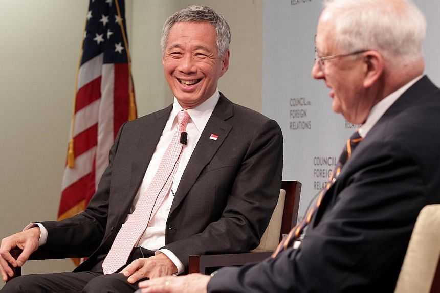 Singapore Prime Minister Lee Hsien Loong attends an on-the-record moderated interview with Council on Foreign Relations moderated by ambassador J. Stapleton Roy and participates in a Q&A with the audience at the Council on Foreign Relations, in W