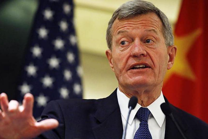 """US Ambassador to China Max Baucus speaks at a luncheon with US business leaders in China, at a hotel in Beijing on June 25, 2014.Mr Baucus chided Beijing on Wednesday for a wave of arrests of """"moderate voices"""", in his first public address since"""