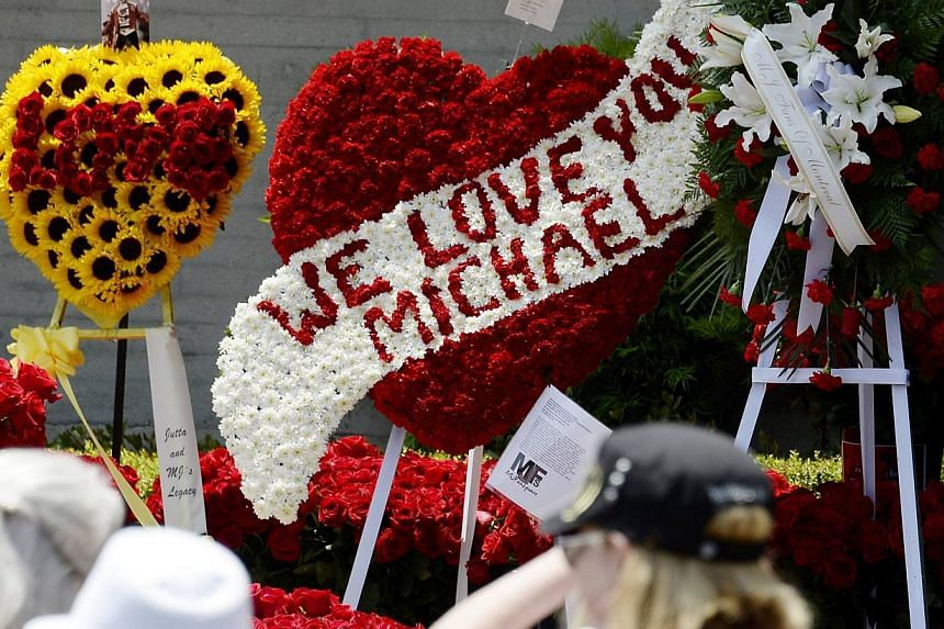 Thousands of red roses, purchased by Michael Jackson fans through online campaign, adorn the entrance of the mausoleum where Jackson is interred at Forest Lawn Memorial Park-Glendale for the 5th anniversary of Michael Jackson's death due to drug over