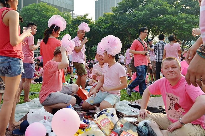 """Some of the participants of the Pink Dot mass picnic event held on June 29, 2013.The police on June 26, 2014, issued an advisory to the public ahead of this Saturday's Pink Dot event, urging attendees to """"keep the peace"""" and reminding organiser"""
