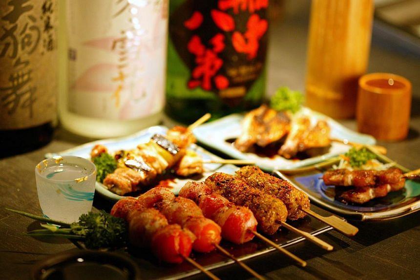 Range of sumiyaki or grilled items on skewers, from beef short rib to gingko nuts.. -- PHOTO: SHUNJUU RESTAURANT