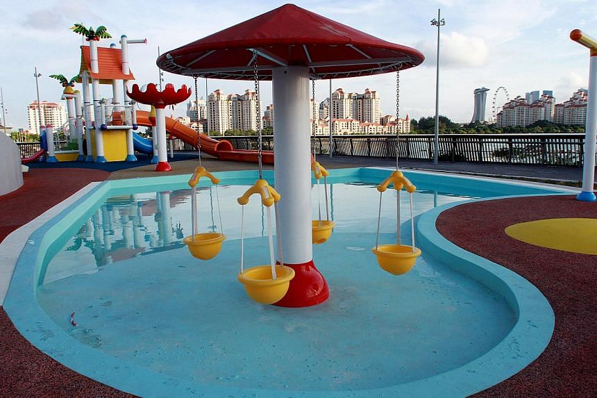 There is a water park called Splash-N-Surf for kids aged up to 12, where there is a water slide called Sting Ray and a Lazy River water ride. It will open in July, with charges to be announced later.-- ST PHOTO:LAU FOOK KONG