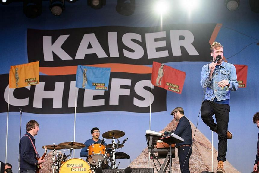 British rock group The Kaiser Chiefs perform on the Other Stage, on the first official date of the Glastonbury Festival of Music and Performing Arts on Worthy Farm in Somerset, south-west England, on June 27, 2014. -- PHOTO: AFP