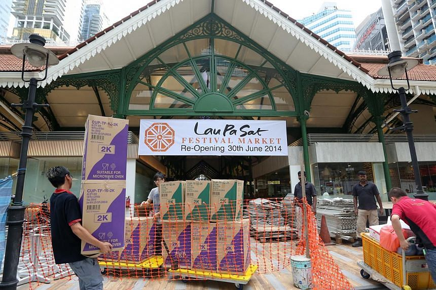 Lau Pa Sat reopens on Monday after a long drawn out $4-million renovation. -- ST PHOTO: ONG WEE JIN