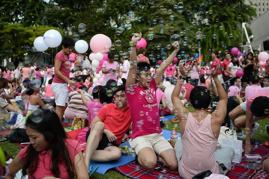 Participants at the sixth annual Pink Dot event at Hong Lim Park on June 28, 2014. -- ST PHOTO: MARK CHEONG