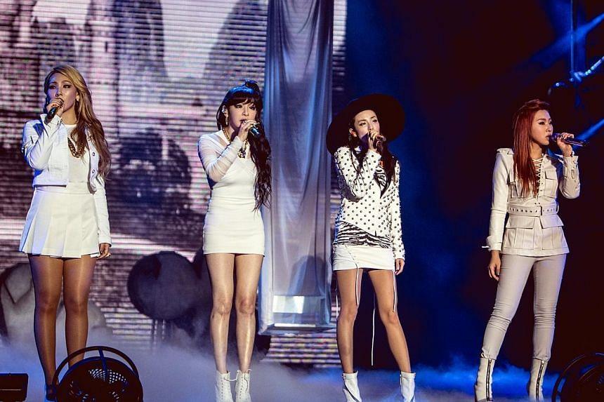K-pop girl group 2NE1, from left to right CL (Lee Chaerin); Bom (Park Bom), Dara (Sandara Park), Minzy (Gong Minji). -- PHOTO: MARCUS LIN