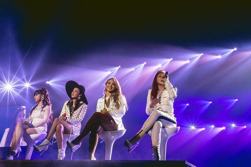 K-pop girl group 2NE1, from left to right Bom (Park Bom), Dara (Sandara Park), CL (Lee Chaerin), Minzy (Gong Minji). -- PHOTO: MARCUS LIN