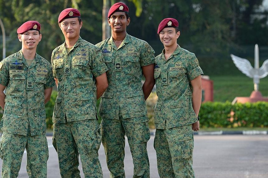 (From left) Lieutenant-Colonel Iain Hoo, 35, 2nd Warrant Officer Lim Jie Hui, 32, Corporal First Class Kannan Gokul, 20, Corporal Ryan Ho, 20.1st Commando (1CDO) has won Best Combat Unit for the 11th consecutive year, and 28 times in total. --