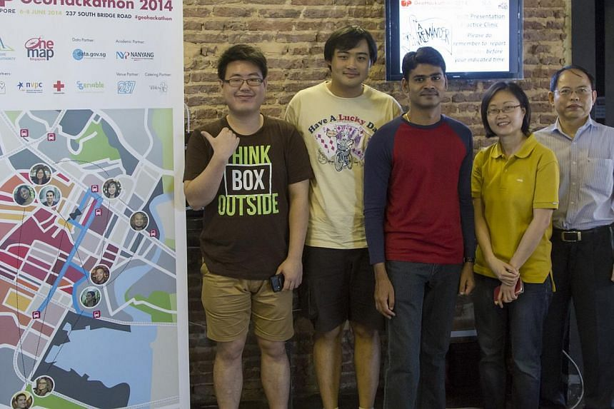 A group of five friends - (from left) Mr Leonard Yeo, Mr Rawwinton Tan, Mr Sivakumar Palaniappan, Ms Mabel Chew and Mr C.J. Lee - developed the app to help reallocate delivery routes to volunteers from Food from the Heart. It was one of eight winners