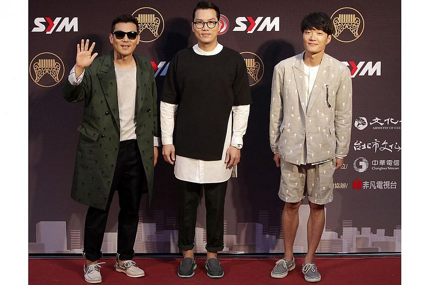 South Korean band Every Single Day poses on the red carpet after arriving for the 25th Golden Melody Awards in Taipei on June 28, 2014. -- PHOTO: REUTERS