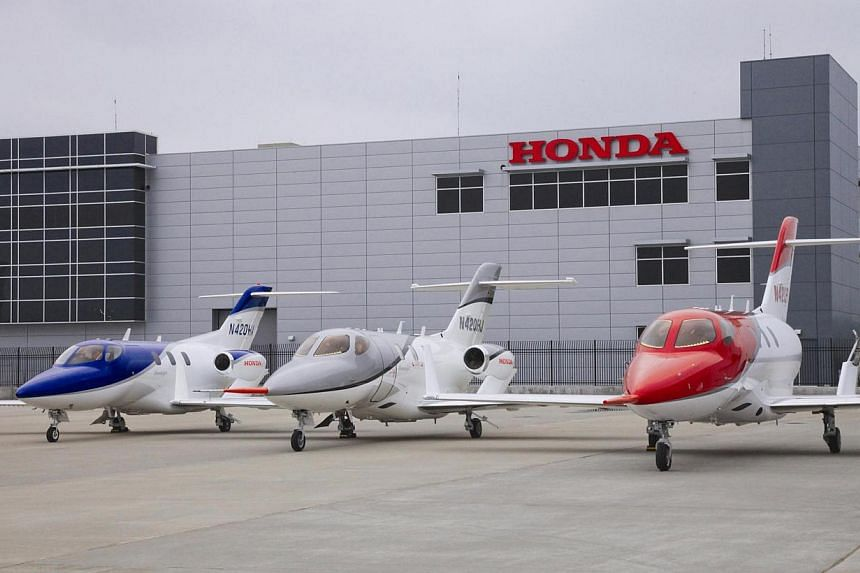 A file photo from November 2012 showing HondaJets. The Japanese company's first business jet logged its maiden flight on Friday, June 27, 2014, ahead of its expected certification and delivery in 2015. -- PHOTO: HONDA