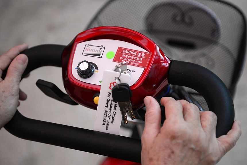 A close-up of steering area of a scooter after the launch of the Radin Mas EZ Roam on June 29, 2014. People using the scooter can toggle its speed with a simple button and move forward and reverse using two levers on the side of the steering wheel.&n