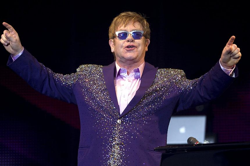 British singer Elton John performs at the Ibiza123 Festival in Sant Antoni de Portmany on the Balearic island of Ibiza on July 2, 2012. British musician Elton John described Pope Francis as wonderful in an interview on Sunday in which he said Jesus w