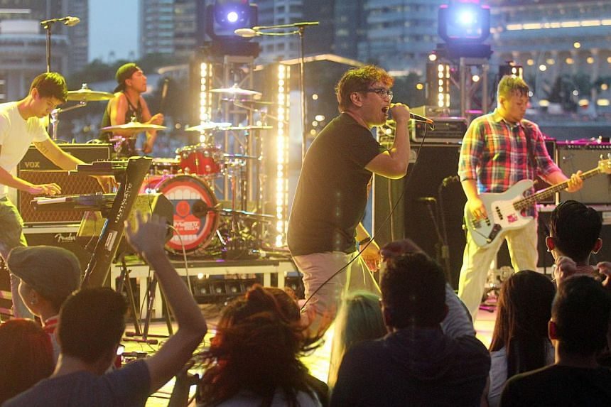 Local band, The New Portsdown performs at the Music festival Baybeats by the Esplanade. -- DIOS VINCOY JR FOR THE STRAITS TIMES