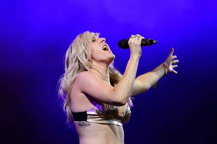 British singer Ellie Goulding performs on the Other Stage on the final day of the Glastonbury Festival of Music and Performing Arts on Worthy Farm in Somerset, south-west England, on June 29, 2014.  -- PHOTO: AFP