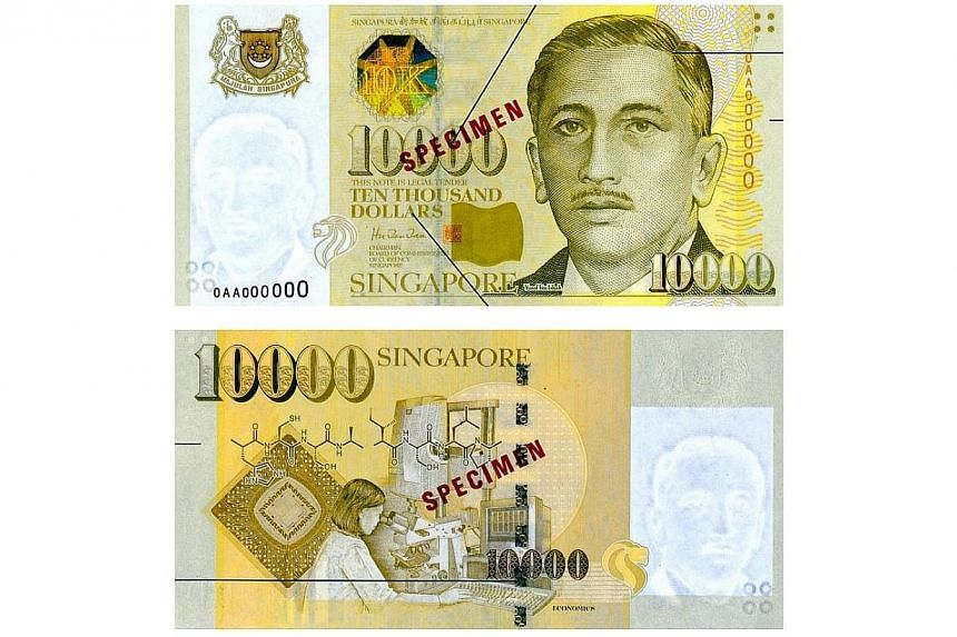 Singapore will stop issuing new $10,000 notes as part of a broader move to strengthen its anti-money laundering and counter-terrorism financing regime. -- PHOTO: BCCS
