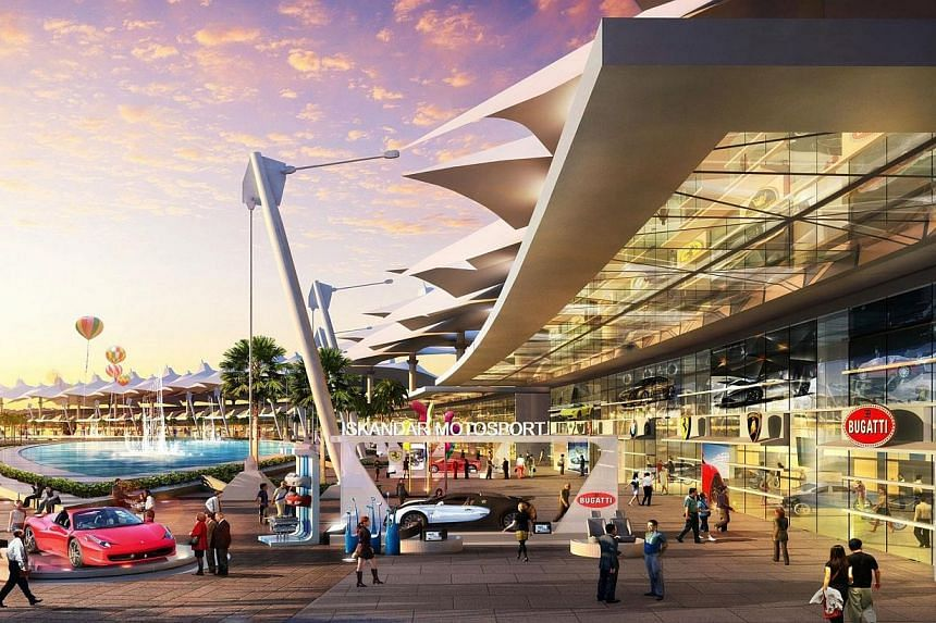 Proposed stops include Nusajaya, not far from a motorsports hub (artist's impression above) being built by Singapore tycoon Peter Lim. -- PHOTO: UEM LAND