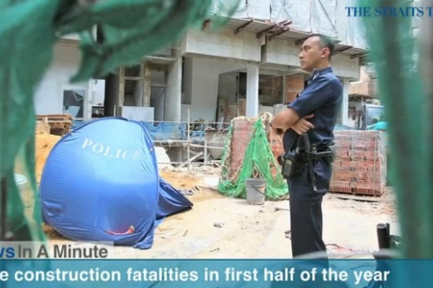 In today's The Straits Times News In A Minute video, we look at the increase in construction fatalities in the first half of this year. -- PHOTO: SCREENGRAB