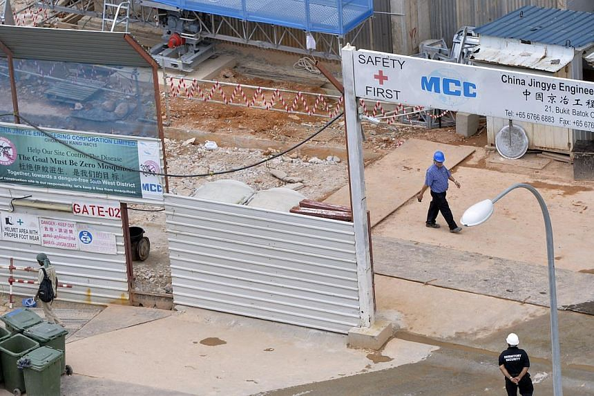 Suspected construction site where 35 of its workers came down with dengue. Construction company China Jingye Engineering Corporation has been told to stop work and clean up its Choa Chu Kang Avenue 1 Housing Board construction site after 35 of i
