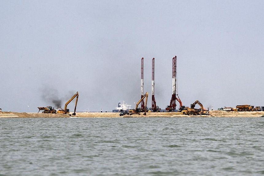 The strip of land, where reclamation works are ongoing, off the shores of Johor on 25 June 2014.Johor will impose a payment of 30 sen (S$0.12) for every sq ft on developers involved in sea reclamation works in the state to assist fishermen whos